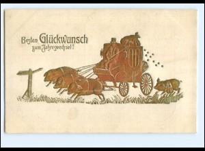 XX009928/ Neujahr Schweine Kutsche Gold- und Prägedruck AK 1914