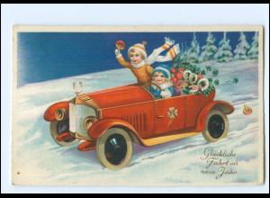 XX009927/ Neujahr Kinder fahren Auto Litho AK ca.1928