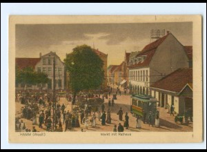 XX10066/ Hamm Westf. Markt Rathaus Straßenbahn AK 1920