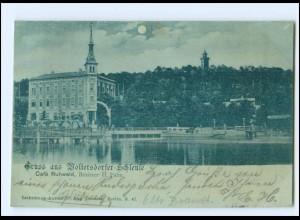 XX009942-155/ Gruß aus Woltersdorfer Schleuse bei Erkner Mondschein AK 1901