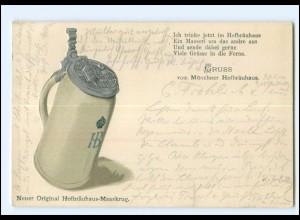 XX10054/ München Gruß vom Hofbräuhaus PrägedruckAK Bier Bierkrug 1900