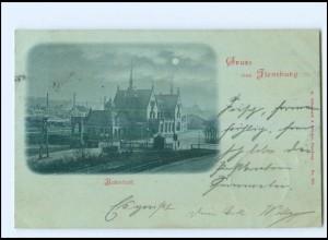 XX009952/ Gruß aus Flensburg Bahnhof Mondschein AK 1898