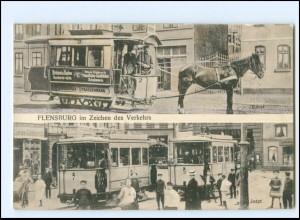 XX009978/ Flensburg im Zeichen des Verkehrs Straßenbahn Pferdebahn AK 1908