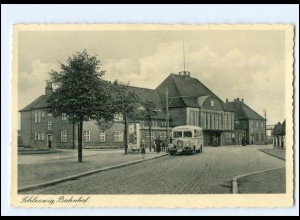 XX10045/ Schleswig Bahnhof Mercedes-Omnibus AK ca.1938