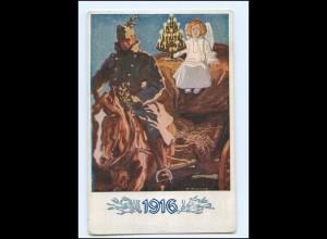Y17338/ 1. Weltkrieg AK 1916 Weihnachten Soldat und Engel
