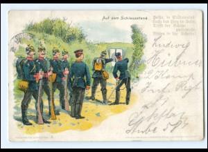 Y16499/ Auf dem Schießstand Soldaten Litho Ak 1906