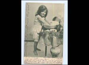 Y16523/ Mädchen wäscht sich Waschen AK 1901
