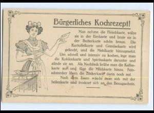 Y17232/ Bürgerliches Kochrezept! Lebensmittelkarte Fleischkarte, Eierkarte AK