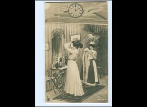 Y16524/ Frau mit Hut Mantel Foto AK ca.1900