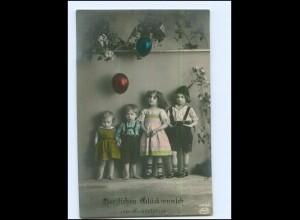 Y16529/ Geburtstag Kinder mit Luftballons Foto AK