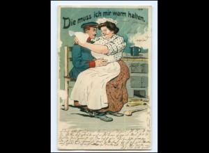 Y16531/ Soldat und dicke Frau Litho Humor AK 1910