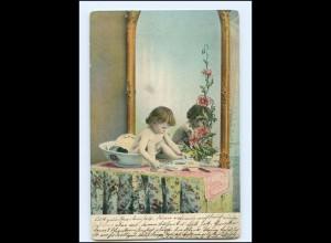 Y16536/ Kleines Kind wäscht sich Waschen Spiegel AK 1906