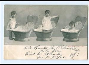 Y16541/ Kinder baden in der Badewanne 1905 AK