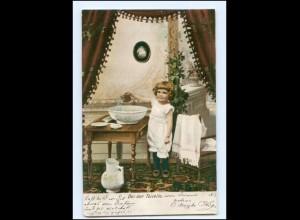 Y16542/ Bei der Toilette - Mädchen wäscht sich Waschen Waschschüssel AK 1906