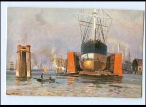 Y16549/ Schiff im Dock Hafen Verlag: T.S.N. ca.1905 AK