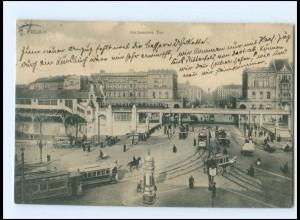 V633/ Berlin Hallesches Tor Bahnhof Straßenbahn AK 1909