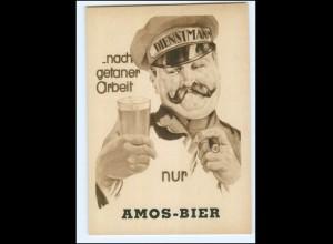 XX009842/ Amos-Bier Dienstmann mit Bier und Zigarre AK ca.1940