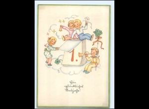 XX009856/ Neujahr Kinder AK 1942 Verlag: Deyerter-Herrmann
