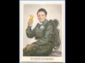 XX009860/ Neujahr Schornsteinfeger trinkt Sekt AK ca.1955