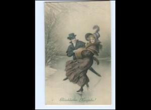 Y16584/ Neujahr Eislaufen Künstler AK M.M.Vienne M. MUnk Nr.561 1910
