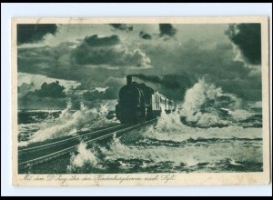 Y16591/ Hindenburgdamm Sylt Eisenbahn AK 1936