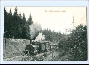 Y16593/ Im Schönecker Wald Sa. Eisenbahn Lokomotive AK ca.1910