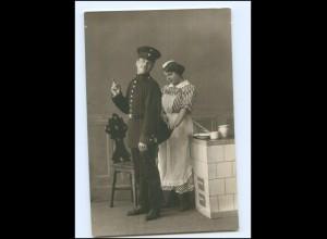 Y17774/ Köchin Hausangestellte und Soldat Foto AK 1916