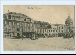 XX10281/ Köslin Koszalin Am Markt Straßenbahn Pommern AK 1915