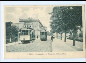 XX10316/ Köslin Koszalin Bergstr. Straßenbahn AK ca.1912 Pommern