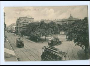 XX10321/ Landsberg a. Warthe Markt Straßenbahn AK 1912