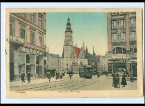 XX10322/ Breslau Blick auf den Ring Straßenbahn AK Schlesien 1913