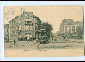 XX10331-080/ Zwickau Bahnhofstraße Straßenbahn AK 1907