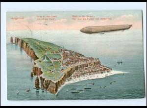 S2145/ Helgoland und Zeppelin Luftschiff AK 1912