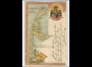 S2150/ Sylt Landkarten Litho AK 1899