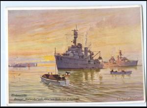 S2153/ Kriegsmarine Kreuzer Karlsruhe und Köln vor Helgoland AK ca.1939