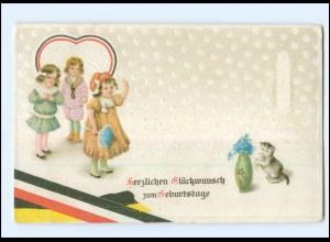Y16956/ Geburtstag Kinder Katze Litho Präge AK 1918