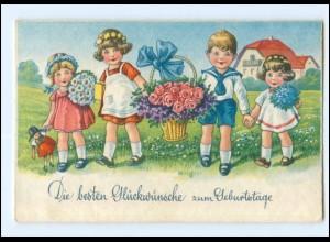 Y16957/ Geburtstag Kinder mit Blumen Litho AK 1935