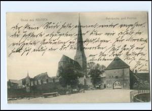 Y16754/ Rostock Petrikirche und Petritor 1908 AK