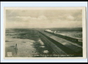 V353/ Hindenburgdamm nach Sylt Eisenbahn Foto AK 1931