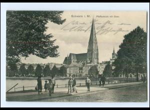Y16761/ Schwerin Pfaffenteich mit Dom 1912 AK