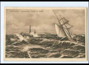 Y16766/ Warnemünde Aussegelndes Schiff im Sturm 1916 AK