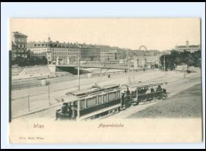 V347/ Wien Aspernbrücke Straßenbahn AK ca.1900