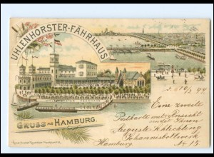 Y16824/ Hamburg Uhlenhorster Fährhaus 1897 Litho AK