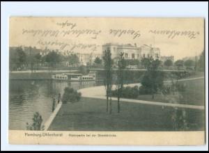 Y16804/ Hamburg Uhlenhorst Alsterpartie bei der Streekbrücke 1907 AK