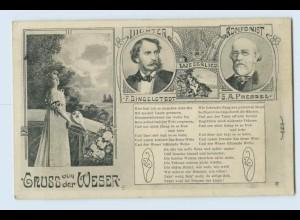 W2F38/ Hann. Münden AK Dichter Dingelstedt Komponist Pressel Weserlied 1914
