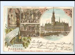 Y16813/ Hamburg Rathaus 1898 Litho AK