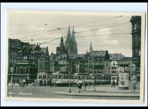 V308/ Köln Heumarkt Straßenbahn Litfaßsäule AK ca.1935