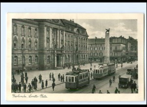 V381/ Karlsruhe Loretto-Platz Straßenbahn AK 1937