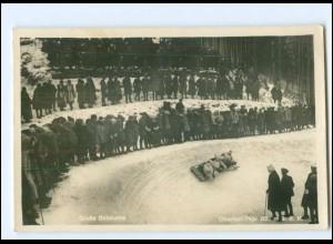 V387/ Große Bobkurve Bobbahn Oberhof Thür. Foto AK 1930