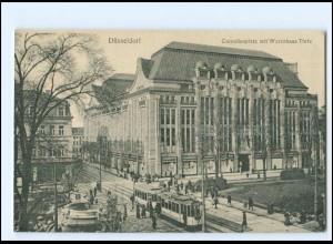 Y16853/ Düsseldorf Corneliusplatz mit Warenhaus Tietz Straßenbahn AK